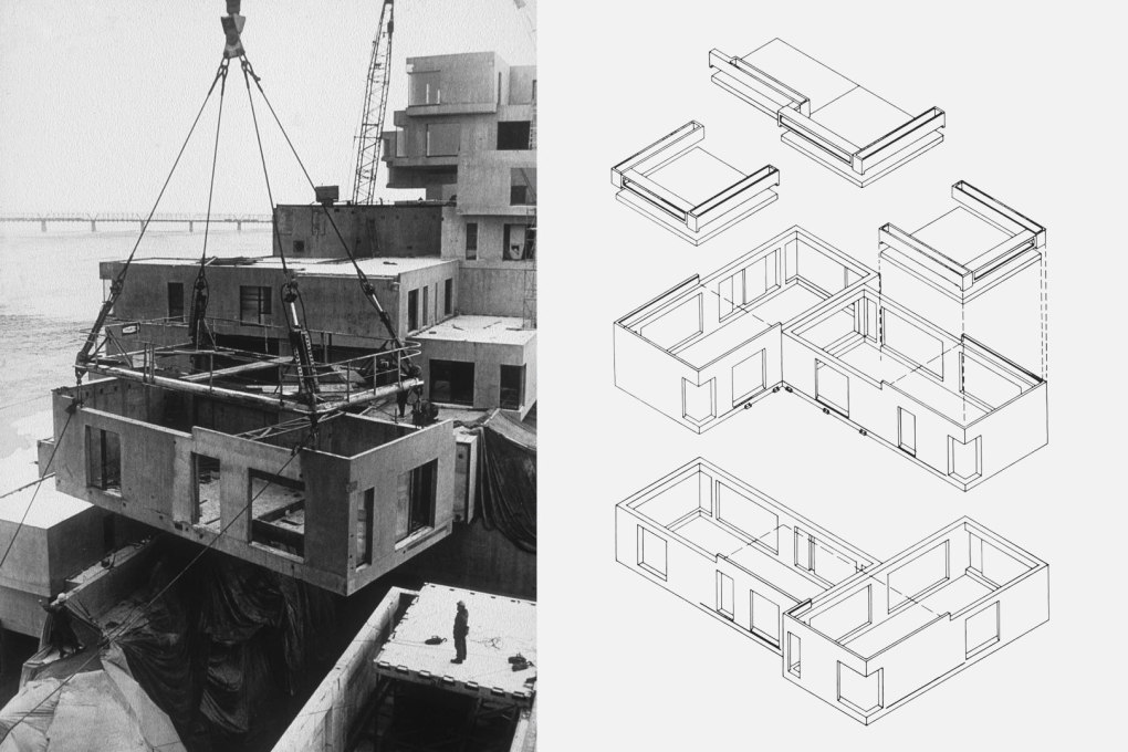 Habitat 67 units being craned into place and an exploded axonometric of the construction elements.