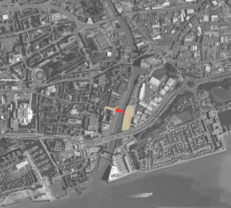Site plan, showing the old city centre to the left (Photo: Timothy Soar)