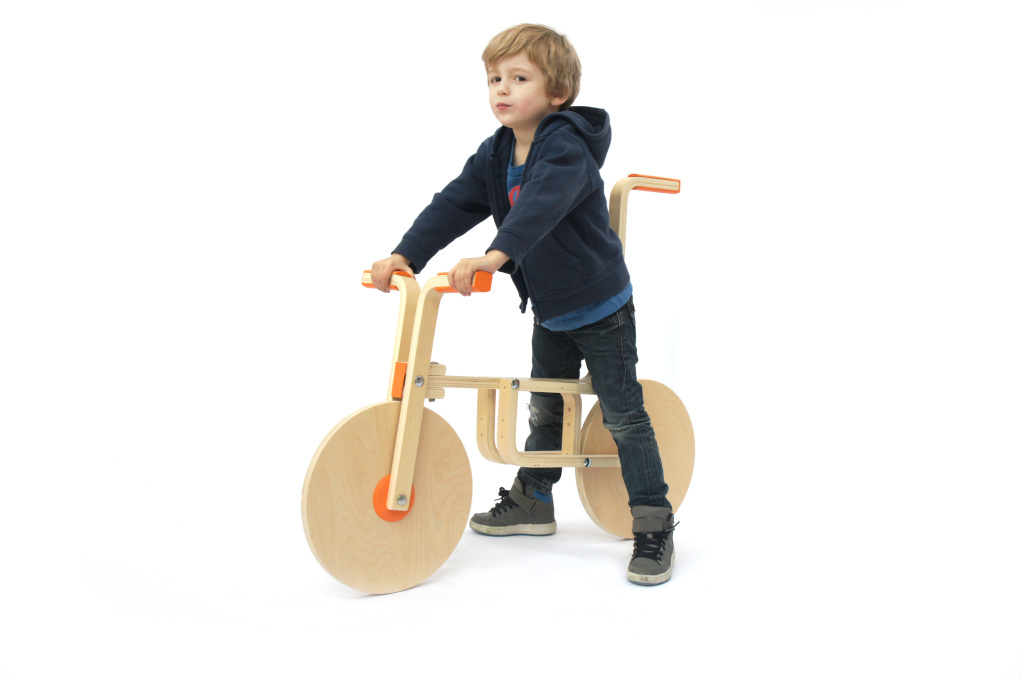 Designers Samuel Bernier and Andreas Bhend used their talents to transform an IKEA stool into a kids' bike. (Photo courtesy Samuel Bernier)