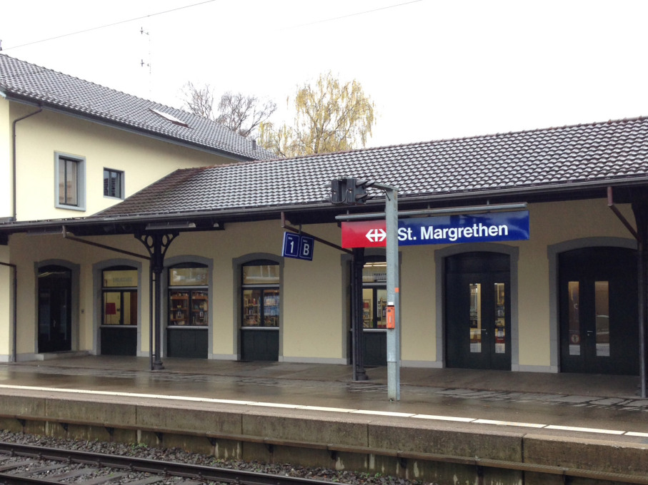 St. Margarethen station. Let the real mountains begin...