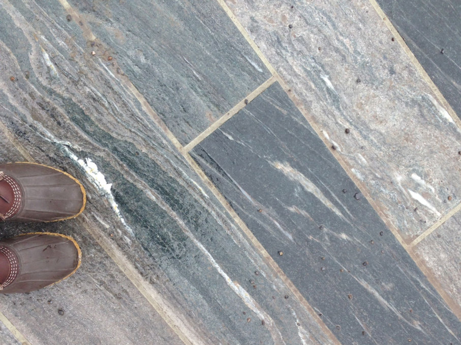 Valser Quartzite underfoot. Everywhere you look is the blue-grey stone. (All photos the author unless otherwise stated)