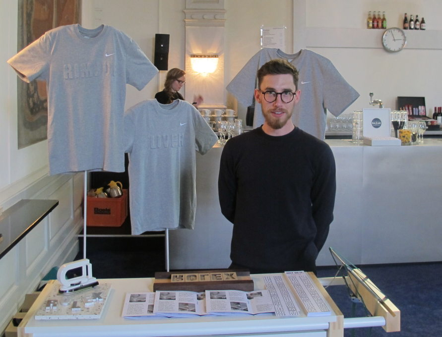 Students from Rietveldt DesignLab displayed projects in the foyer: here, Stefan Auberg customised Nike tees with the words Nike won't allow on its customizable items. (Photo: Elvia Wilk)