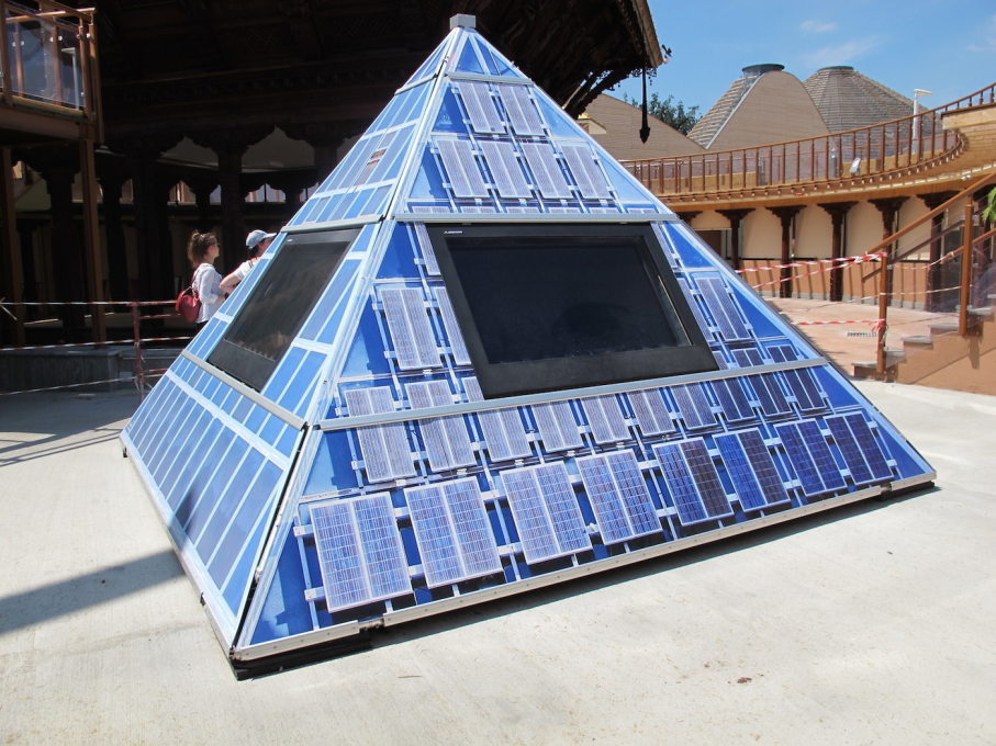 Perhaps the epitome of Expo's attitude towards sustainability and towards finishing things: a half-constructed miniature pyramid covered in fake solar panels.