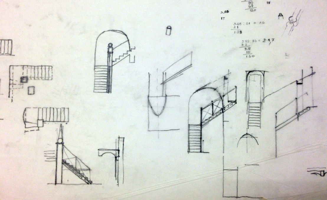 Some of Heinz Bienefeld sketches for the steel staircase.
