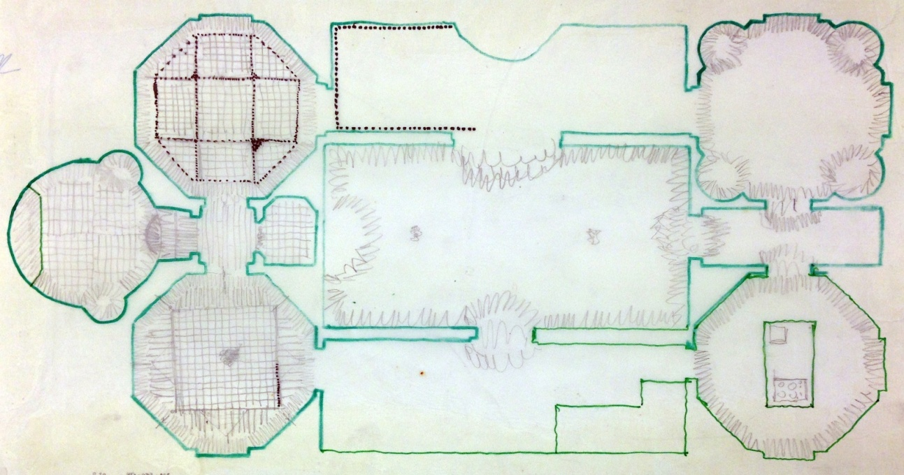 A sketch for the layout of the floor tiles.