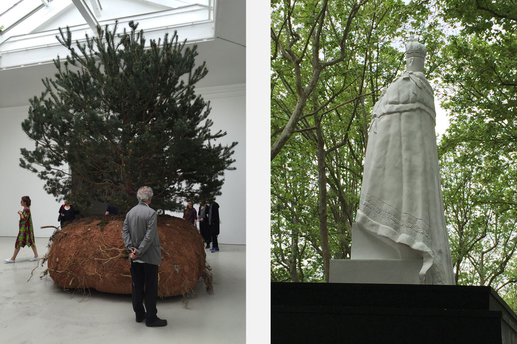 The moving pine trees of Céleste Boursier-Mougenot that wandered around the French pavilion and one of the ruined defaced imperial statues that dotted the Giardini – by Raqs Media Collective.