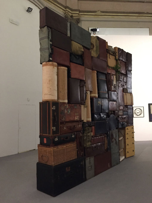 "Fabio Mauri's ""The Wailing Wall"" in the entrance space to the Central Pavilion, part of series inspired by images of the piled, discarded suitcases of concentration camp victims."