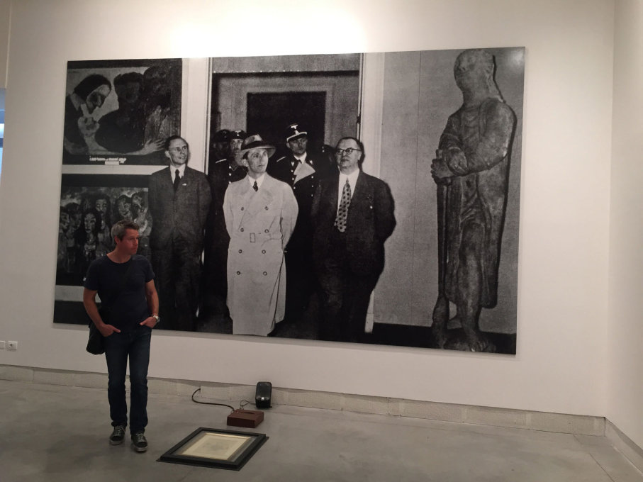 "...Fabio Mauri's photomural of Joseph Goebbels visiting the ""Degenerate Art"" Exhibition in the Haus der Kunst in Munich in 1937 – the gallery where Okwui Enwezor is now director."