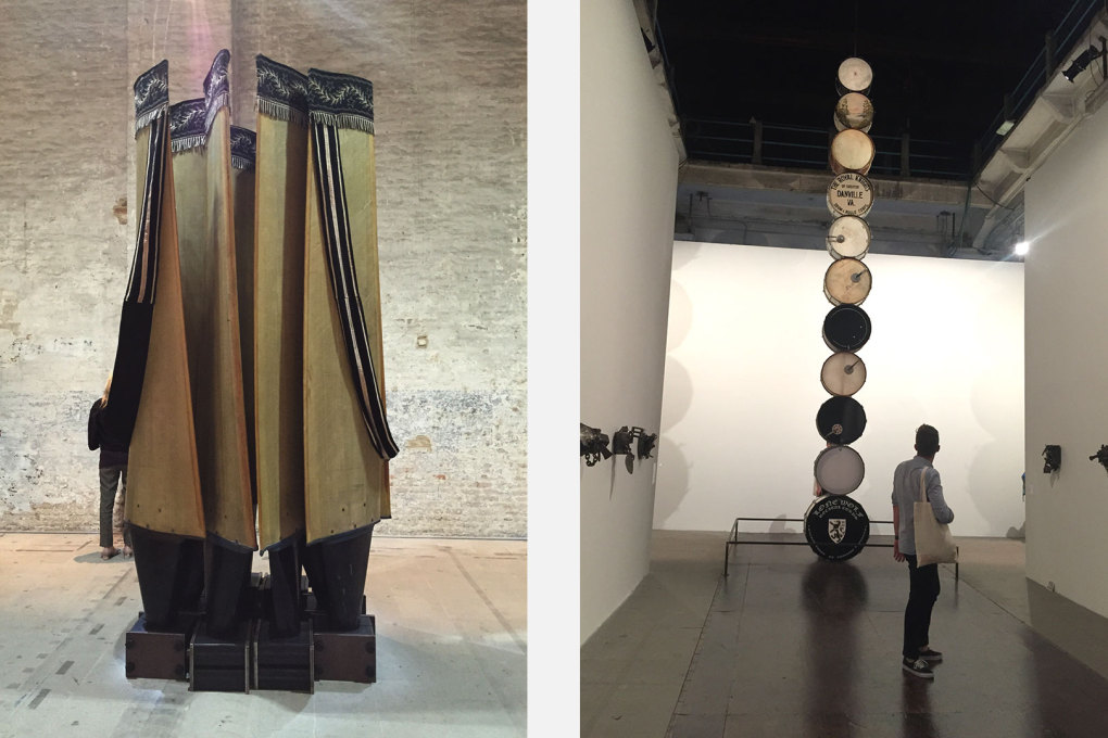 "Left: A bit of the totemic: ""Plinth"". 2004 (from the series Black Beethoven) and (right) ""Muffled Drums"" by Terry Adkins in the Arsenale."