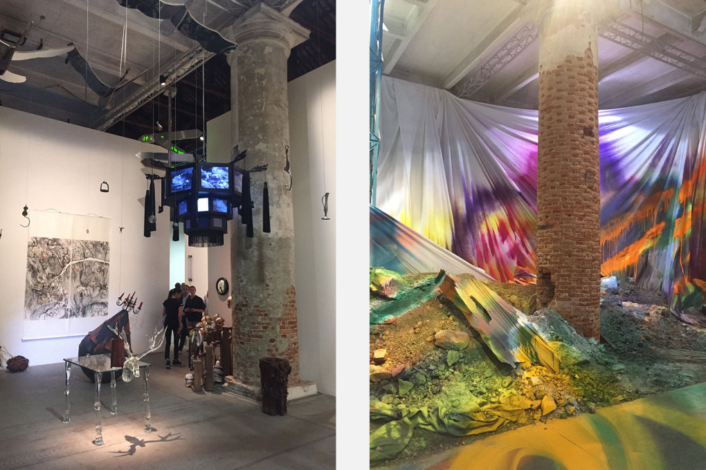 """JingLing Chronicle Theater Project"" by Qiu Zhijie, 2010-2015, and (right) Katharina Gross's installation ""Untitled Trumpet""."