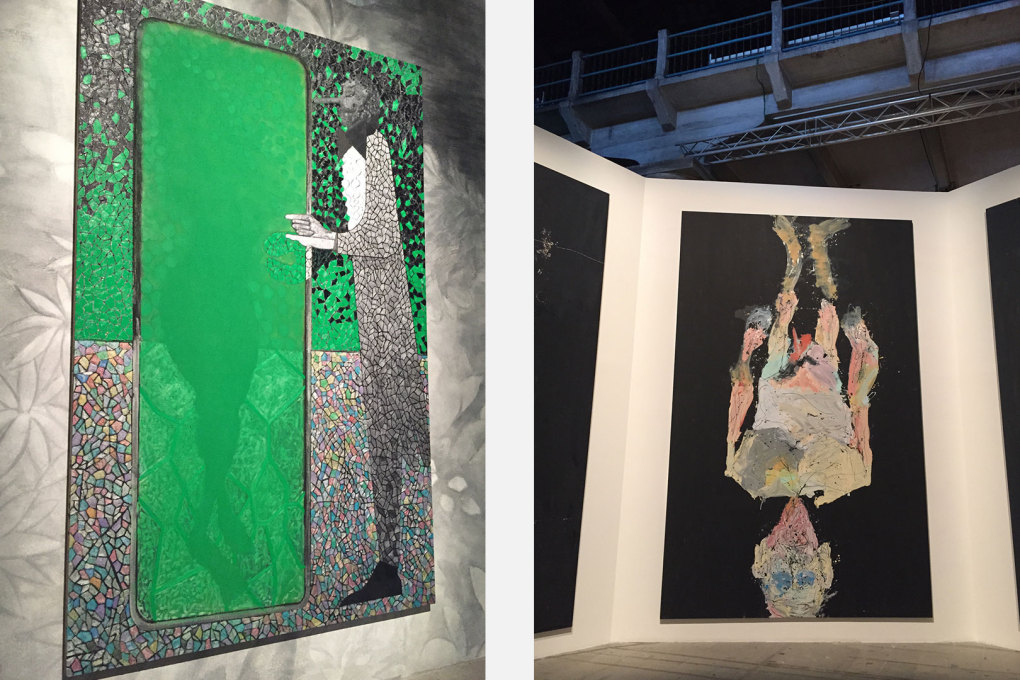 Lots of great figurative painting: left, Chris Ofili, right: Georg Baselitz.