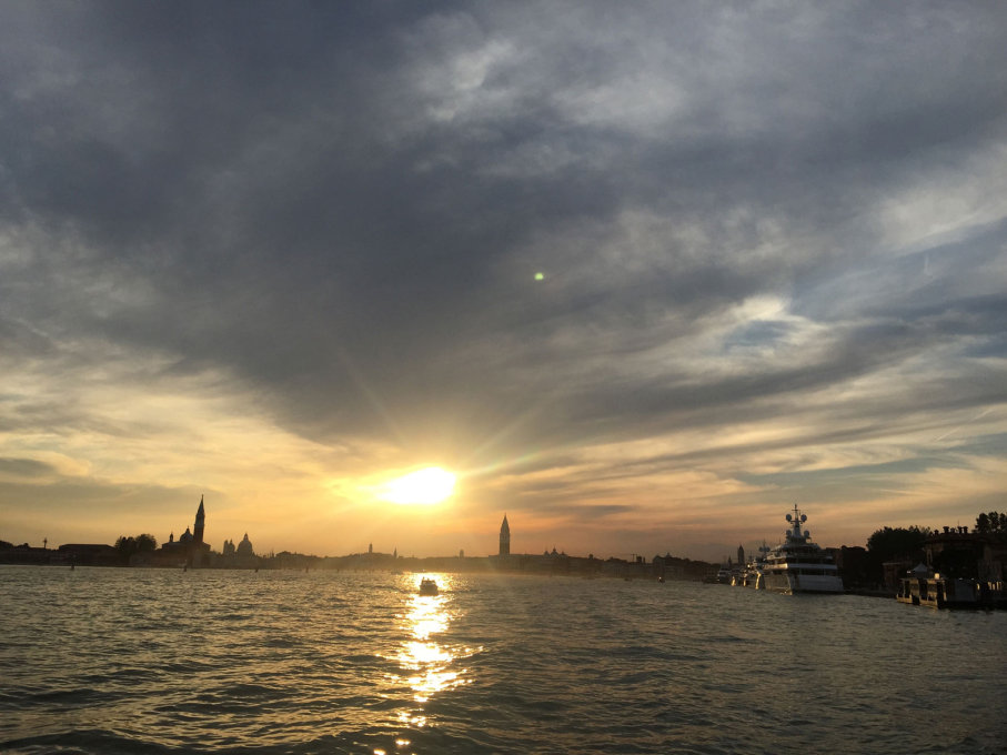 La Serenissima: sun sets over St Mark's and the collectors' yachts.