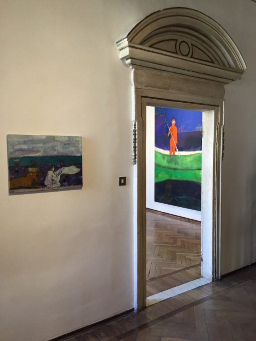 Peter Doig's vivid series of paintings, some vaguely Goya-esque, other's lion and sea-fused paintings, chimed perfectly with the canalside architectural setting of the Palazzetto Tito.