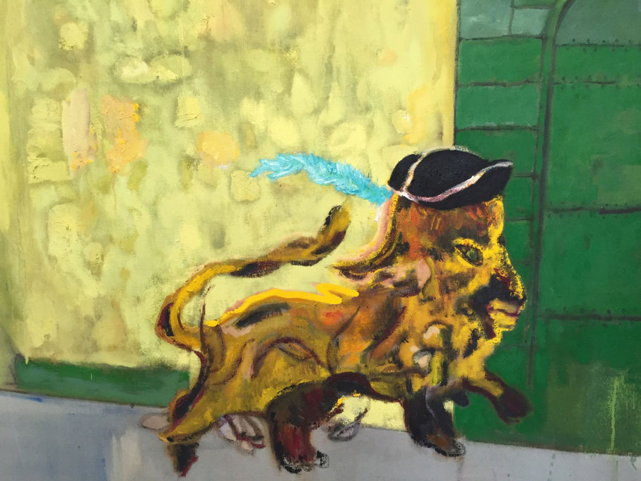 Another cat, a lion, this time with a hat. A detail of one of Peter Doig's paintings...
