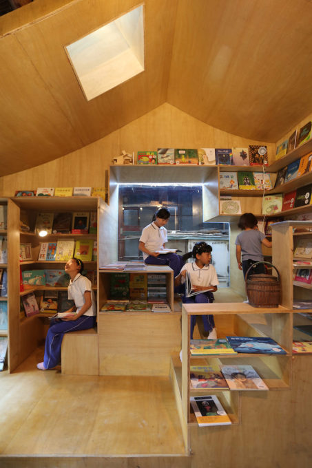 The children's library is completley constructed of plywood.