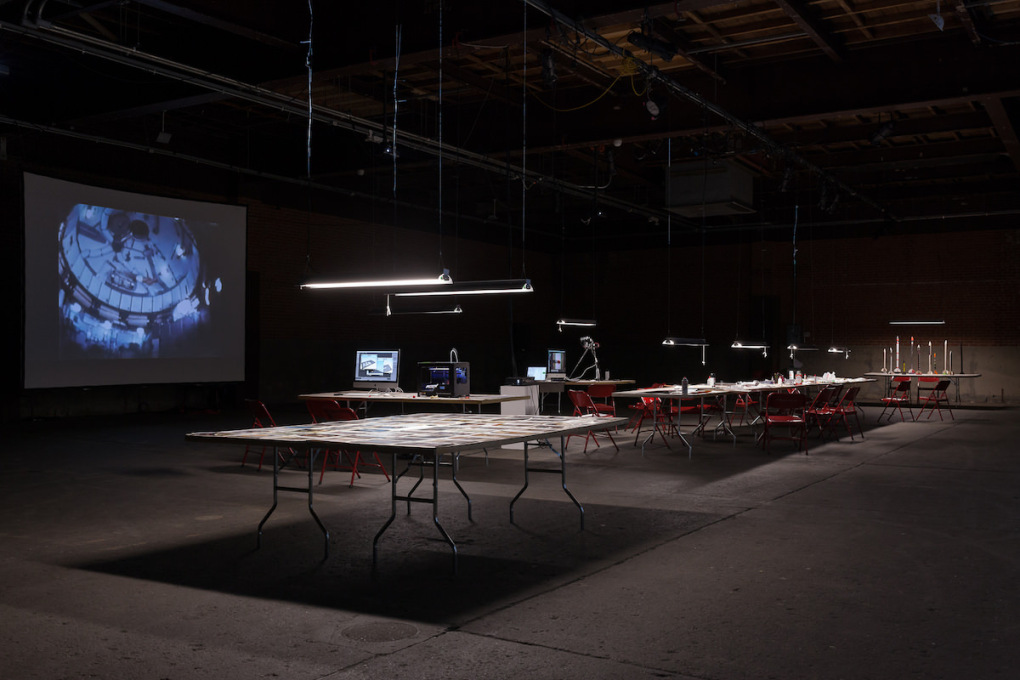On Day 1 of the workshop, Eyebeam was transformed into a think-tank for speculative rocketry.
