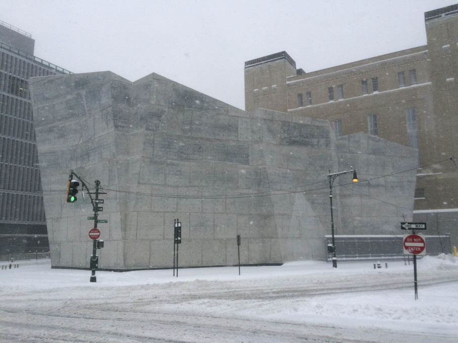 Braving Winter Storm Jonas: the Spring Street salt shed by Dattner Architects and WXY Architecture + Urban Design. (All photos by David Bench unless otherwise stated)