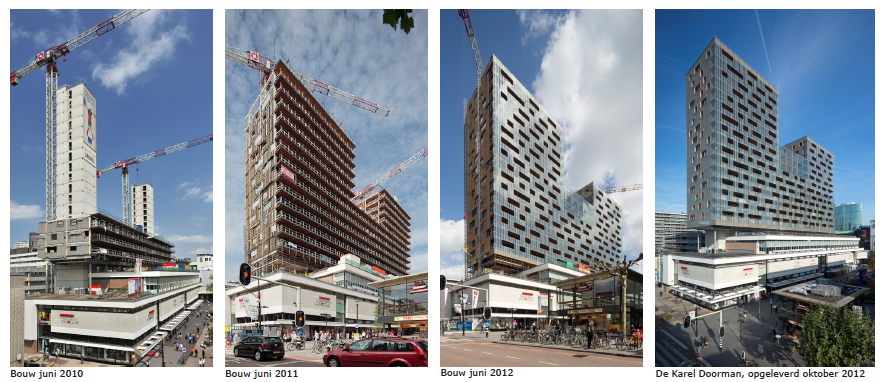 Sequence of construction shots of the De Karel Doorman building. (Image: Ibelings van Tilburg)