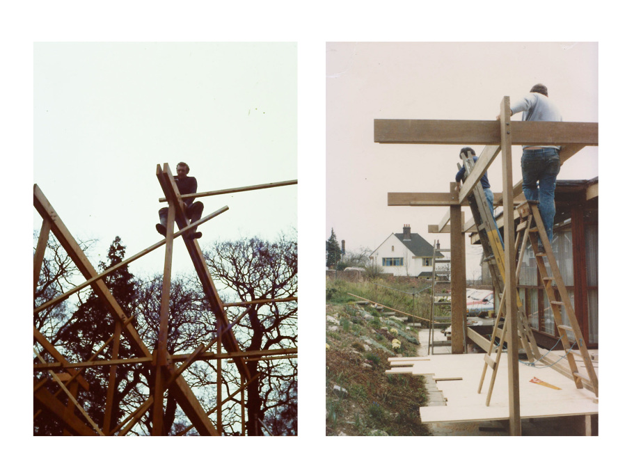 Working on the timber frame. c1970s. (Photos courtesy Jon Broome)