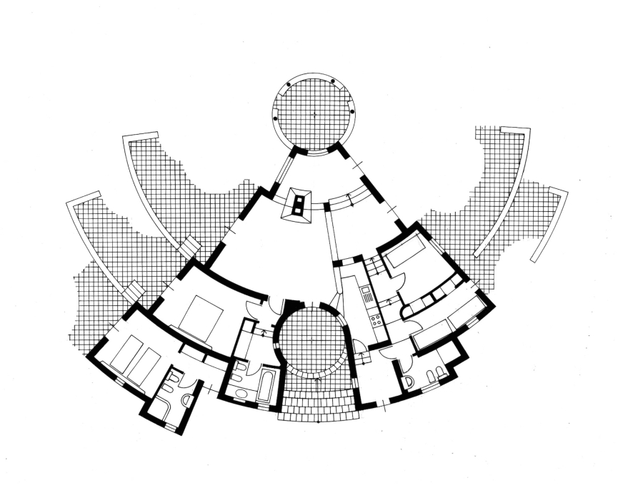"Plan. ""The inside rooms defined by sections of the circumference, each with its own centre, enjoy access to all the paved terraces outside, which are set at the same level as the ground and are designed using the same geometry."""