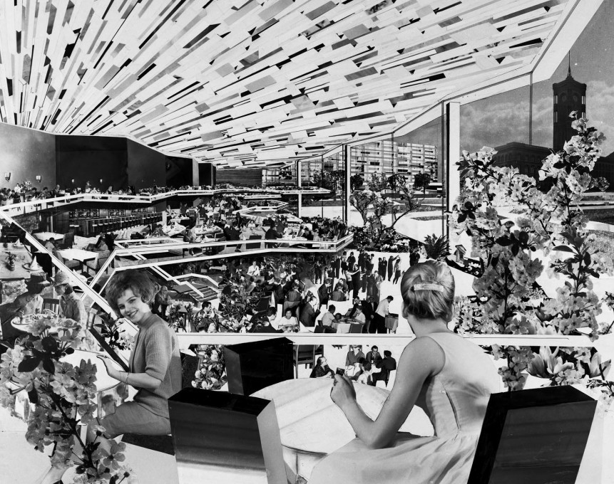 Collage from 1964 depicting the interior view of the TV tower' as designed by Josef Kaiser.