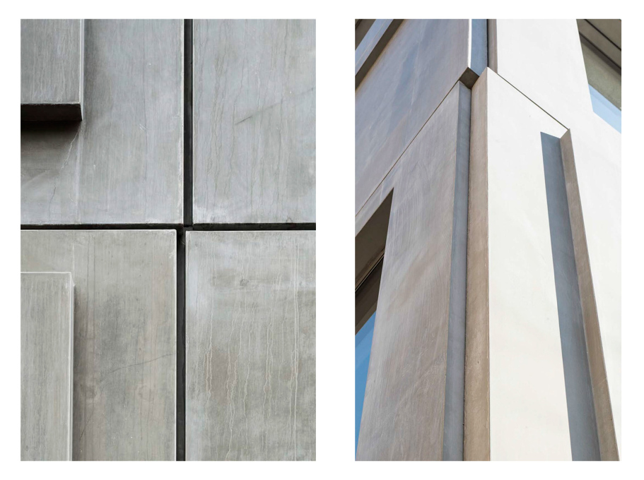 The concrete panels are a play on postwar standardised prefabrication – yet are themselves all non-standard and different.