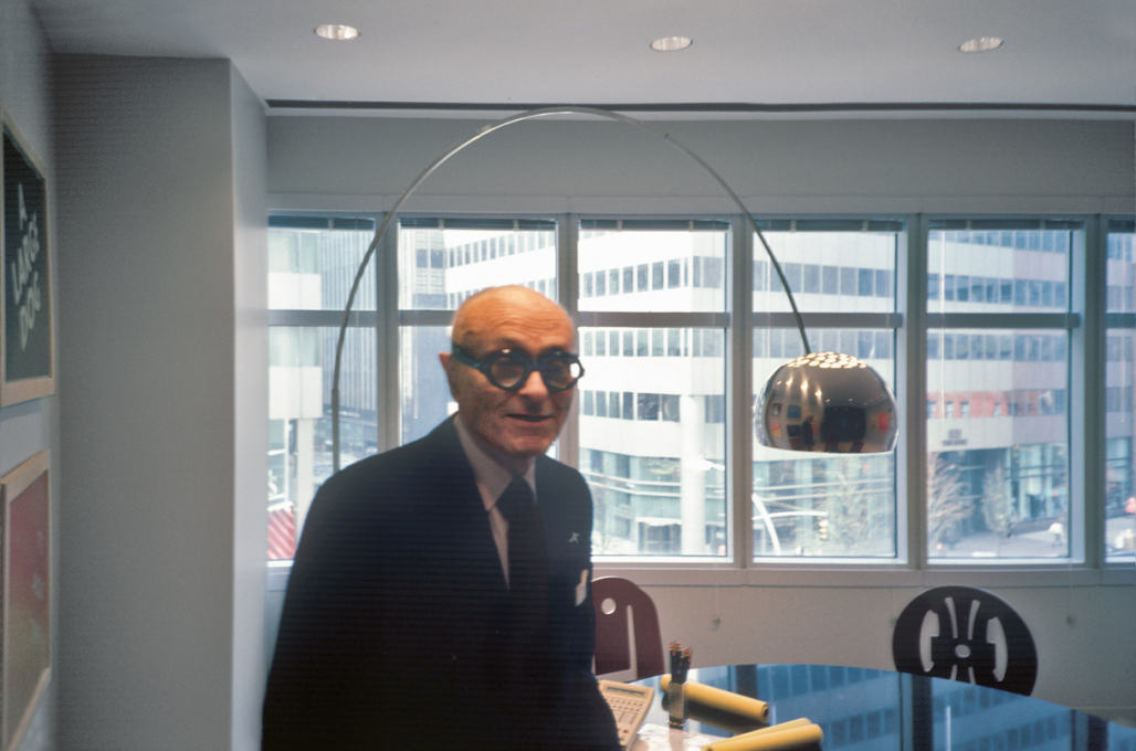 "Philip Johnson in New York in 1987: ""He still has a great deal of power – he sits on MoMA's Board of Trustees and frightens people. Johnson is 80 – a thin, dried-up old man with massive, owlish glasses."""