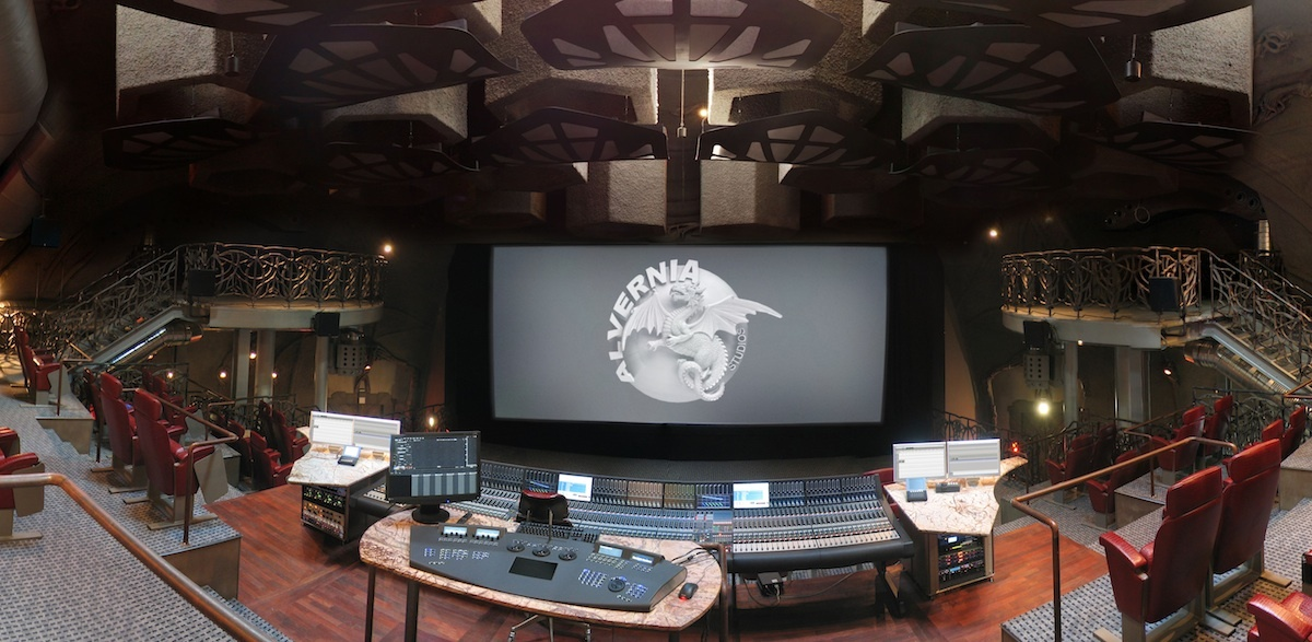 The high-tech audio mixing studio reflects the futuristic vision of the building.  (Photo courtesy Alvernia Studios)