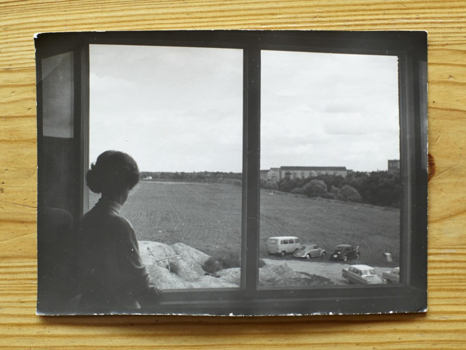 ...and looking out of that same window in 1964 in one of her old photographs.