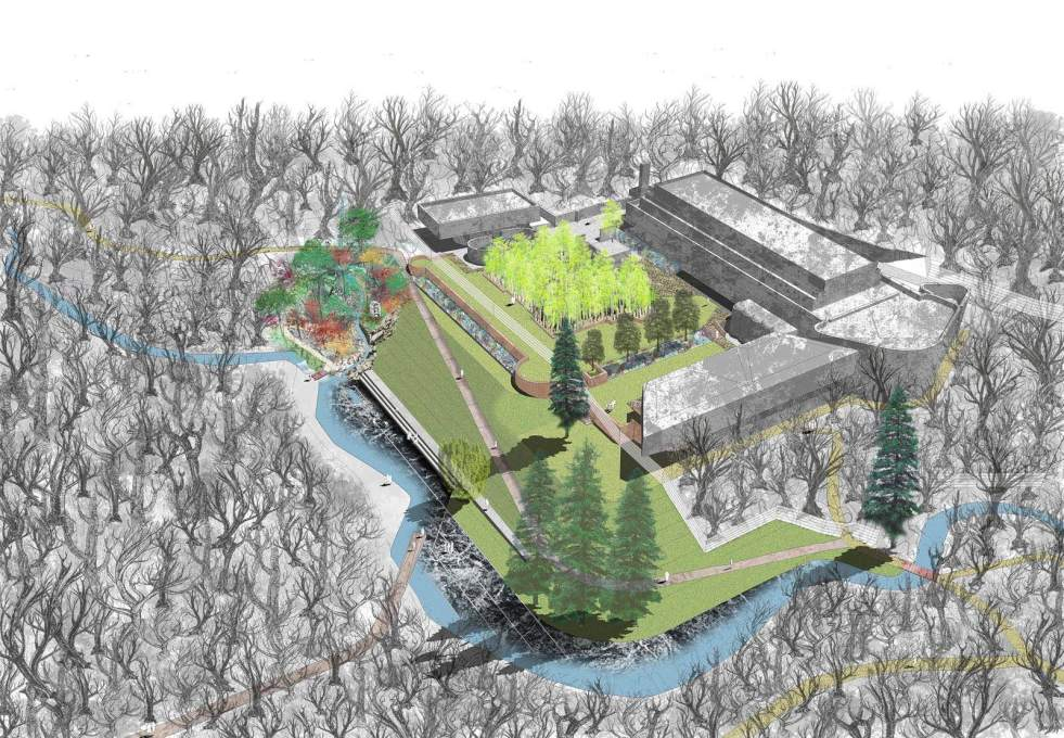 Axonometric of the proposed landscaping of the whole Kilmahew/St. Peter's complex. (Image: ERZ Architects)