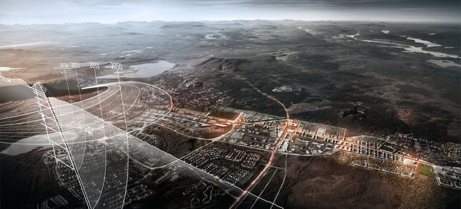Kiruna, Sweden: White arkitekter, with Ghilardi + Hellsten Arkitekter. Subsidence and soil erosion from the mining industry sees this city of 23,000 relocating three kilometres east. (Image © Team Kiruna4ever)