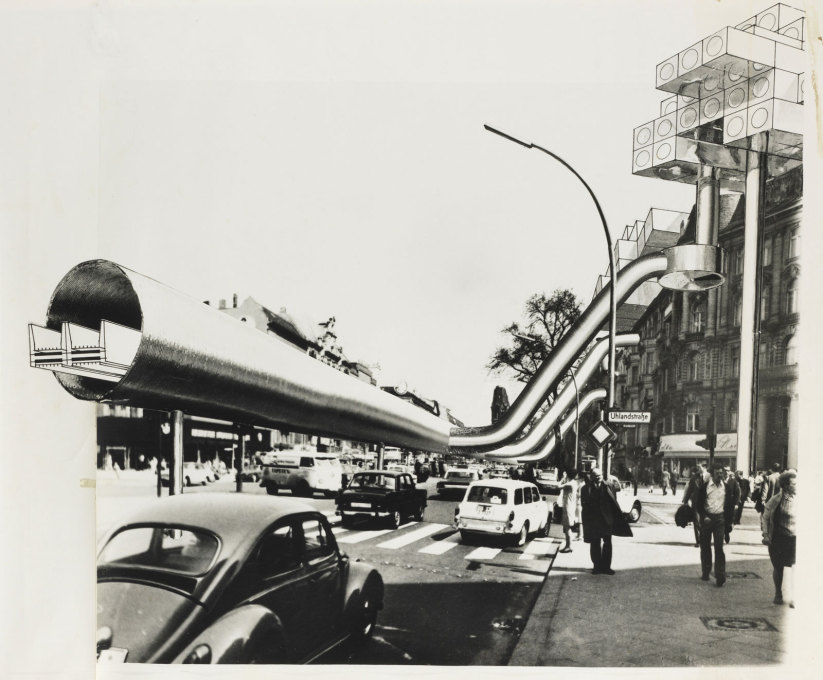 In 1969 Georg Kohlmaier and Barna von Sartory envisioned moving walkways as additional infrastructure for West Berlin. This collage shows them on the Kurfürstendamm. (Image: Kohlmaier/von Sartory © Berlinische Galerie)