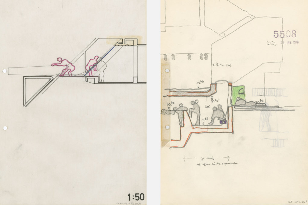 Even in his drawings, Leo would try to think of all the possible situations and encounters within a building. (Drawing: Ludwig-Leo-Archiv in der Akademie der Künste, Berlin © Morag Leo)