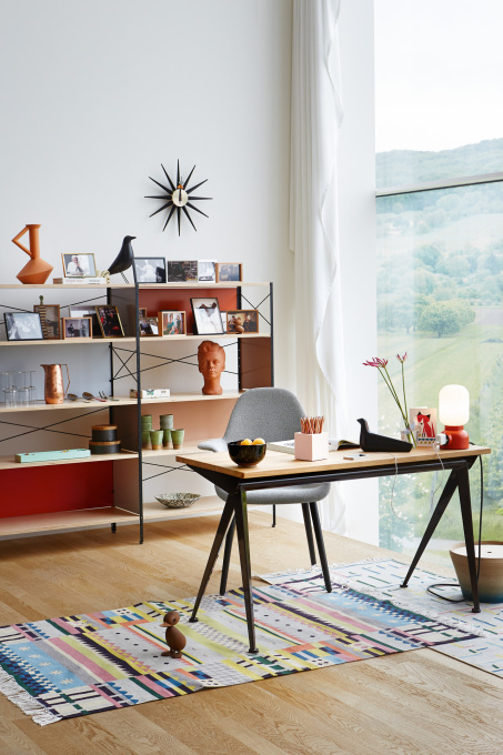 Compas Direction desk by Jean Prouvé, 1953 and Eames ESU shelving, 1949, Vitra. (Photo: Vitra)