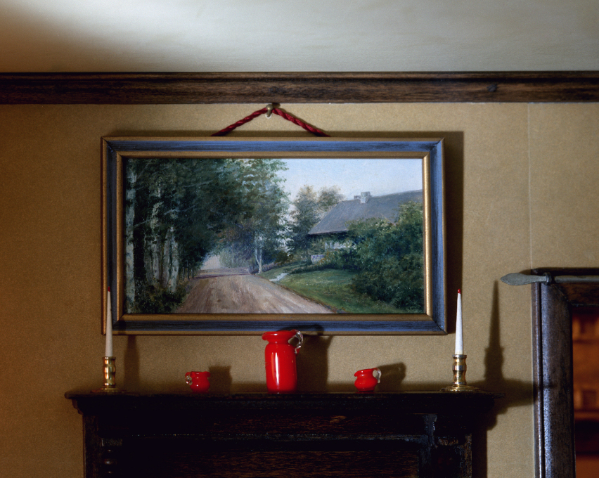 ...she would add personal details to the scenes: this painting depicts the cottage in which Lee grew up.