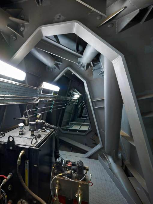 Interior of the bridge, showing the heavy steel structure needed for its cantilever, looks even more submarine-like. (Photo: Timothy Soar)