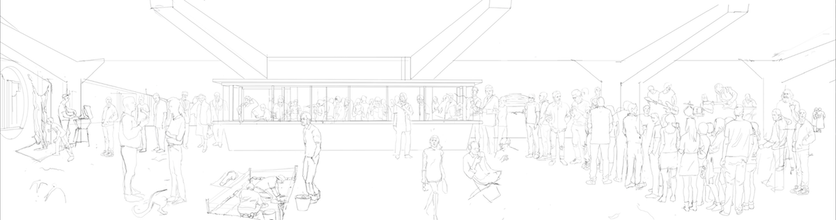"Studio Miessen, sketch by Yulia Startsev for ""19 hours at the kiosk,"" 2012. © Studio Miessen"
