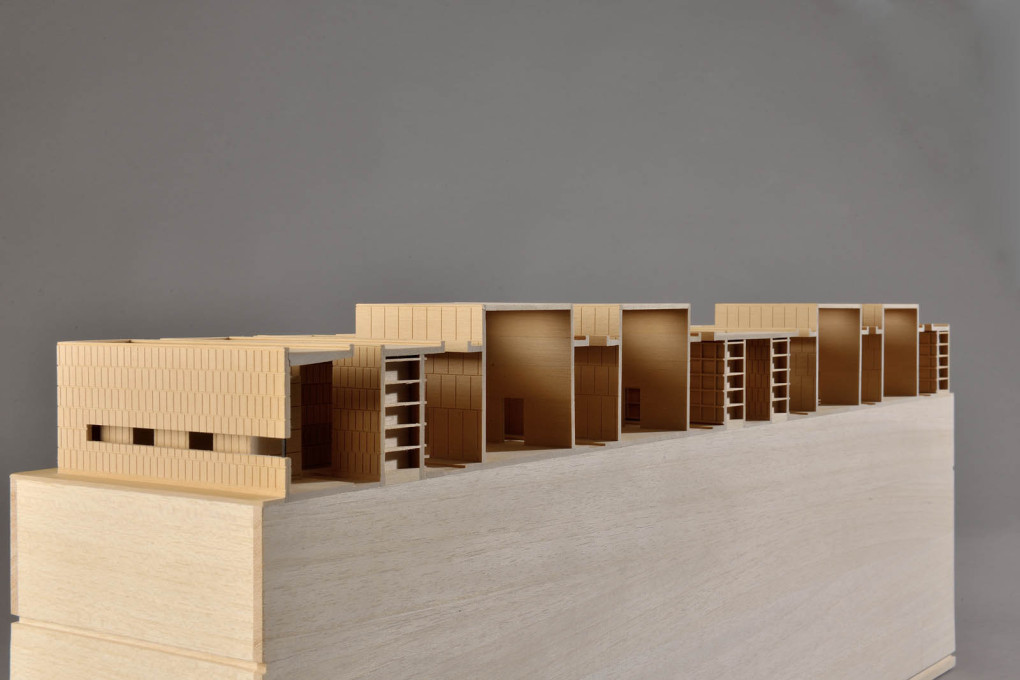 "Model of the Gubbio Cemetery, showing the higher empty ""squares of silence"". (Image: Andrea Dragoni)"
