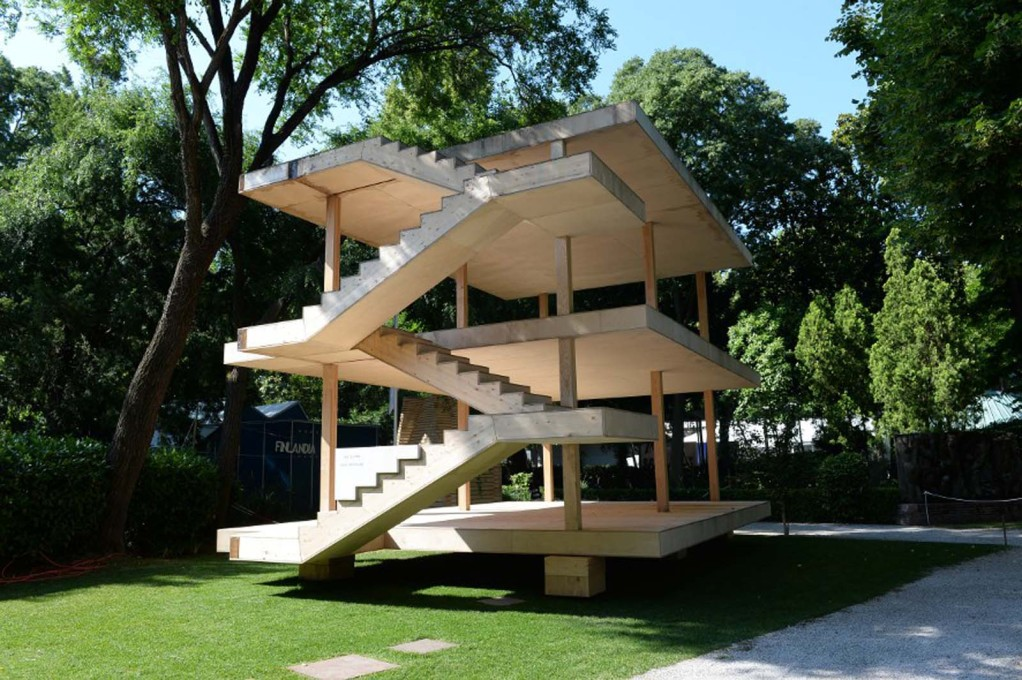 A timber version of Le Corbusier's Maison Dom-ino, outside the Central Pavilion in the Giardini. (Photo: Giorgio Zucchiatti, Courtesy la Biennale di Venezia)