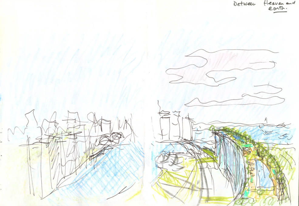 "Concept sketch by Moshe Safdie of the ""SkyPark"" at the Marina Bay Sands complex: ""between heaven and earth""."