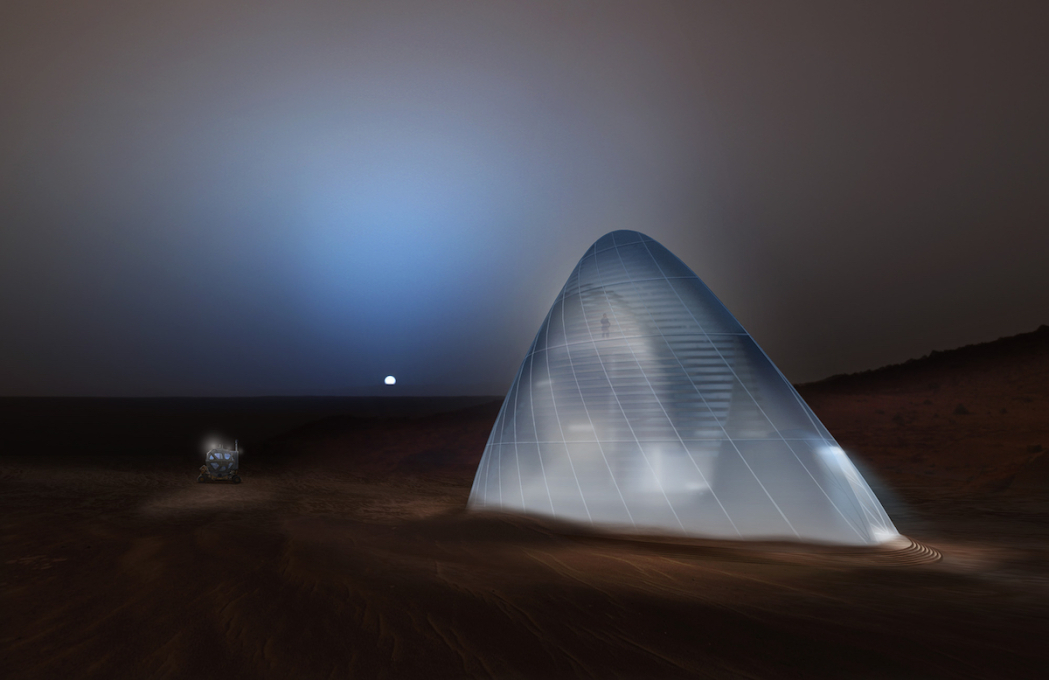 By making use of 3D printed ice, the Mars Ice House not only shields the human inhabitants from radiation, it also transforms into a glowing beacon in the Martian night.