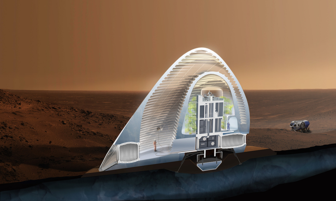The structure's double ice shell houses programmable spaces within its layers, and is 3D printed around a lander capsule habitat. A vertical greenhouse between the habitat and shell forms the crew's yard.