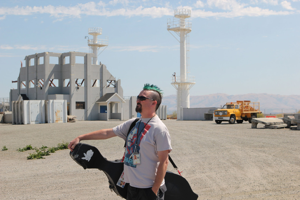 ISO cello player, Matthew Linton at NASA Ames Rescue Site. (Photo: Nelly Ben Hayoun)