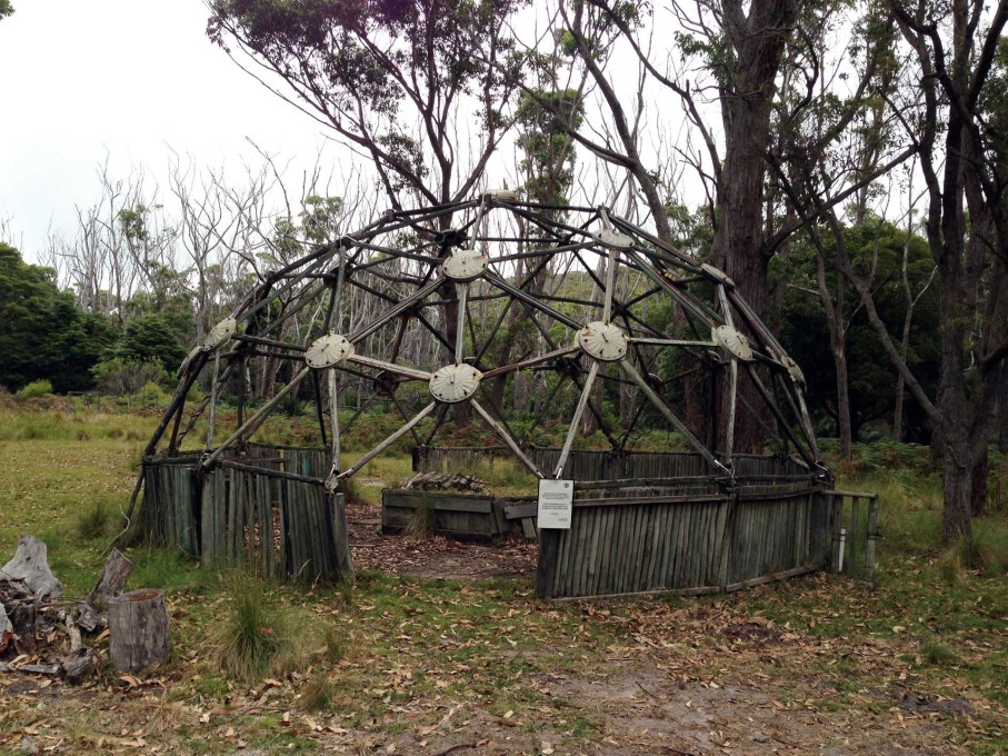 Grounds' geodesic dome at Penders, constructed using salvaged timber. (Photo: Rory Hyde)
