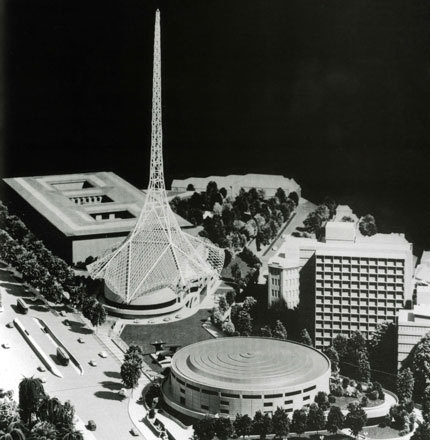 Model of Roy Grounds masterplan for the Melbourne Arts Centre. (Photo: www.arts.vic.gov.au)