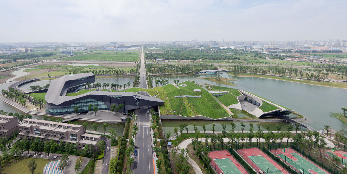 This sprawling, enigmatic building is sited in the swampy hinterlands an hour from downtown Shanghai. (Photo: Iwan Baan)
