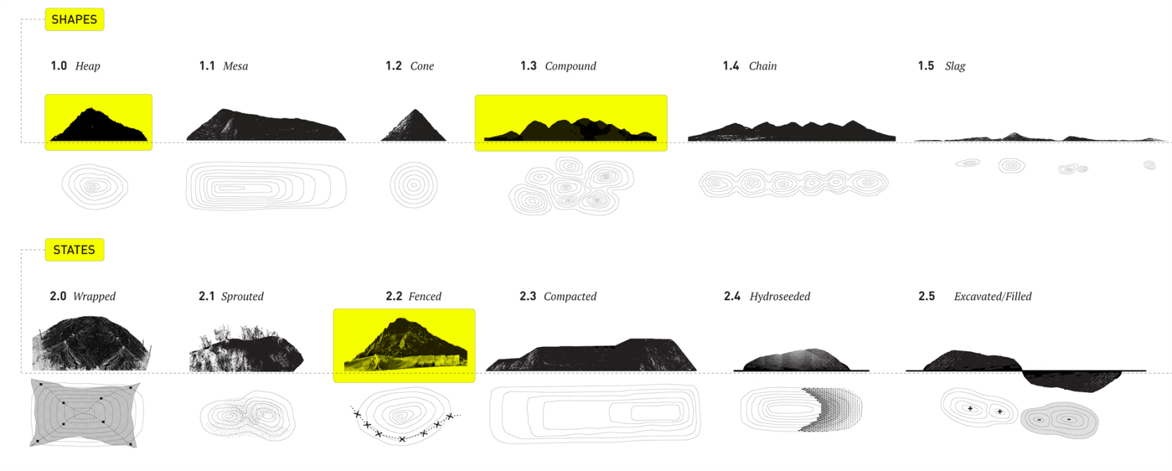 Mound typologies: shapes and states.