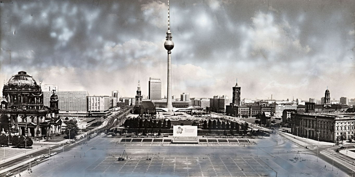 1972 panorama of East Berlin's new center and the site of the soon-to-be-constructed Palace of the Republic, since demolished for the currently-under-construction faux-baroque Berlin castle. (Image © Dieter Urbach/Berlinische Galerie)