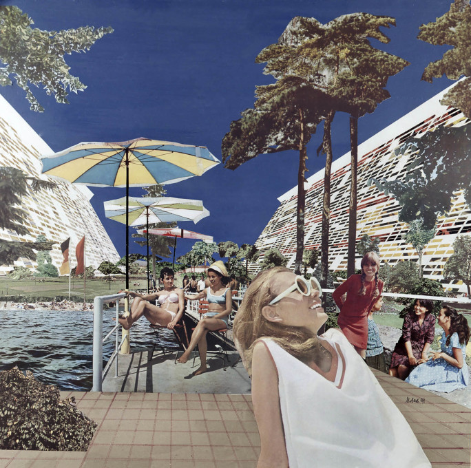 ...and a collage offering an imagined view of life inside the project, being enjoyed by typically glamourous citizens.