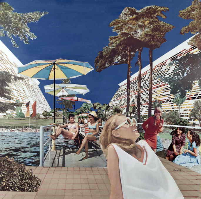 "Urbach also illustrated Kaiser's unrealised design proposal for a ""Grosshügelhaus"" (large-hill housing) from 1971. Note more of those happy people. (Collage © Dieter Urbach/Berlinische Galerie)"